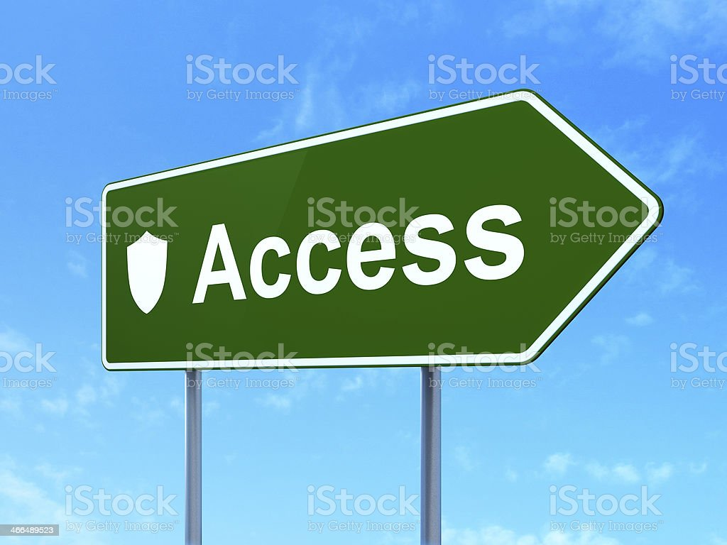Protection concept: Access and Shield on road sign background stock photo