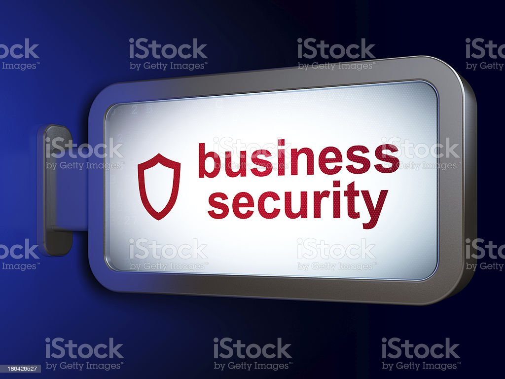Protection concept: Business Security and Contoured Shield on bi royalty-free stock photo