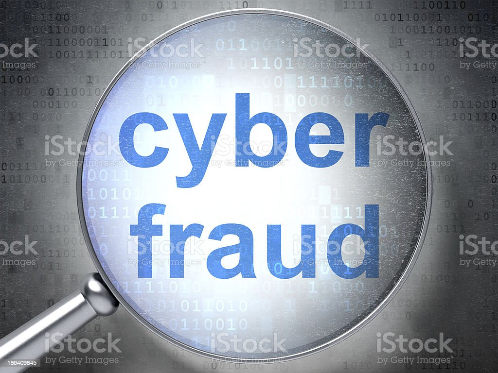 Protection concept: Cyber Fraud with optical glass royalty-free stock photo