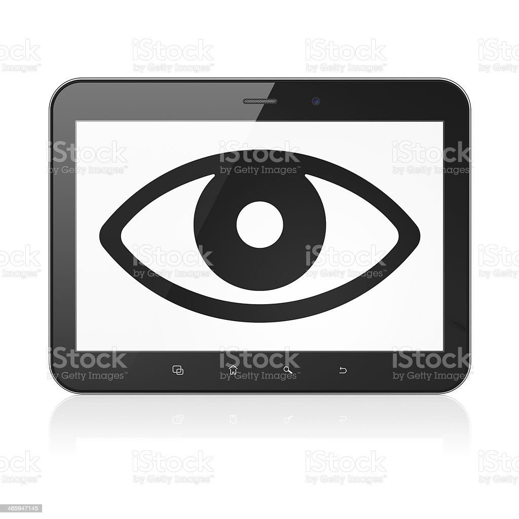 Protection concept: Eye on tablet pc computer stock photo
