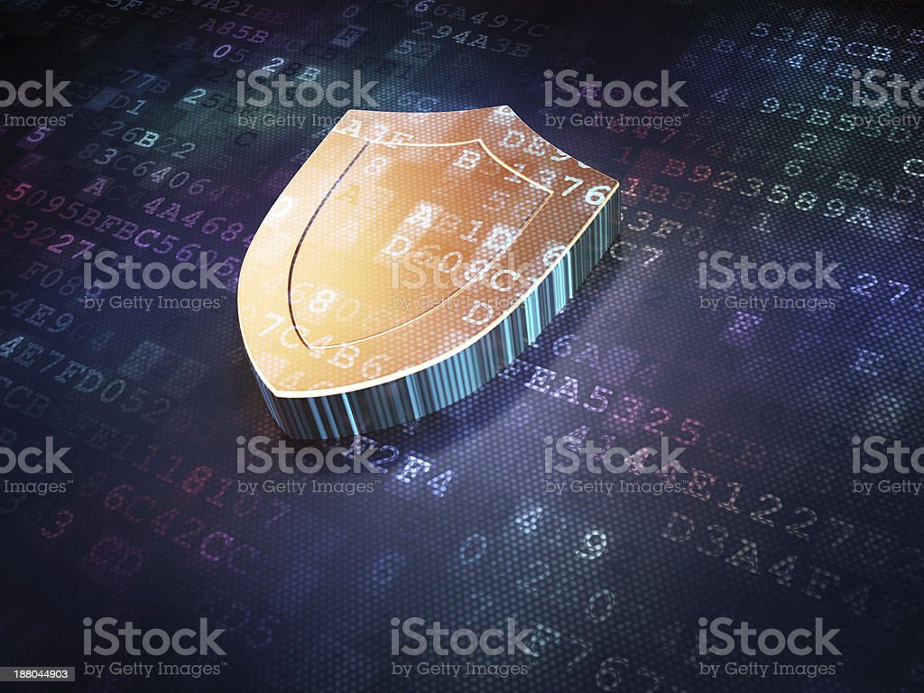 Protection concept: Golden Shield on digital background stock photo
