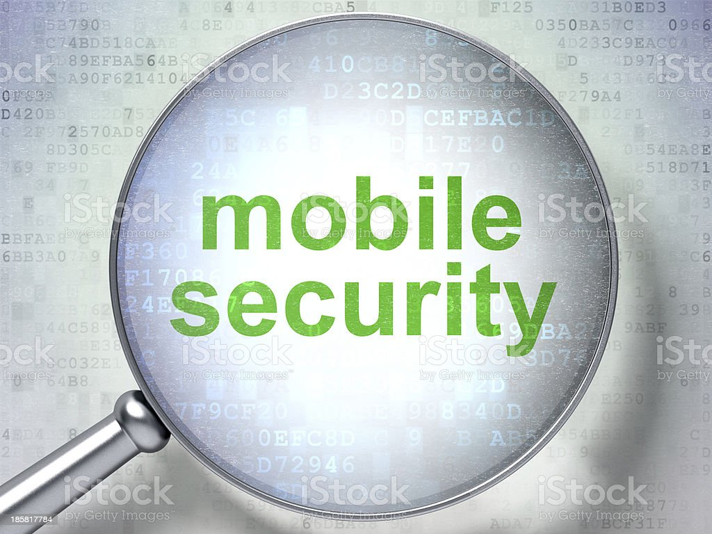 Protection concept: Mobile Security with optical glass royalty-free stock photo