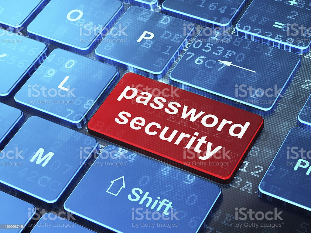 Protection concept: Password Security on computer keyboard background stock photo