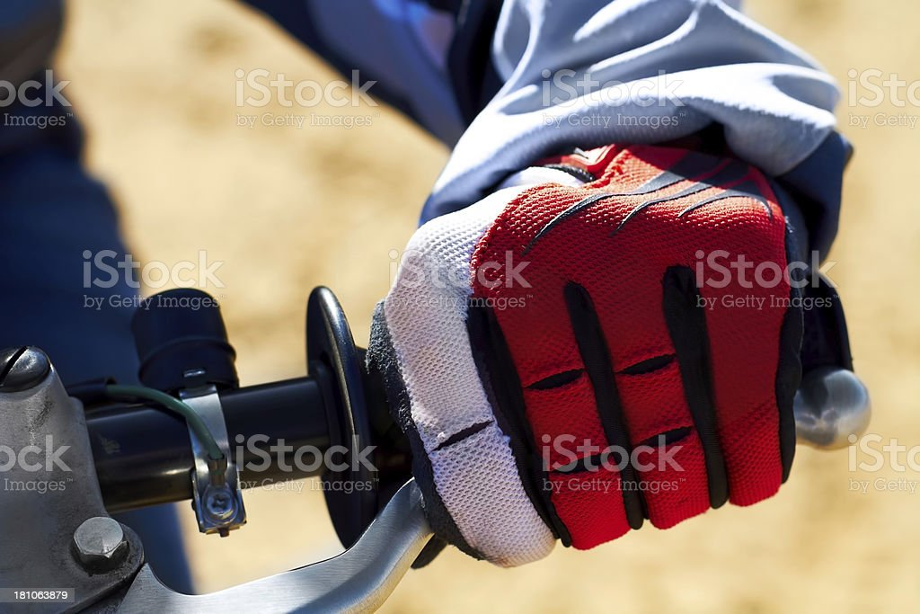 Protection for the hands is essential in motocross royalty-free stock photo