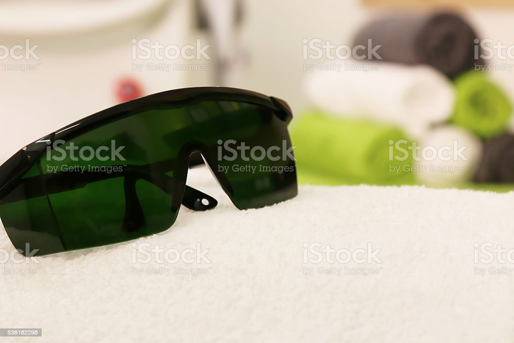 Protection Goggles Laser Safety Glasses Green stock photo