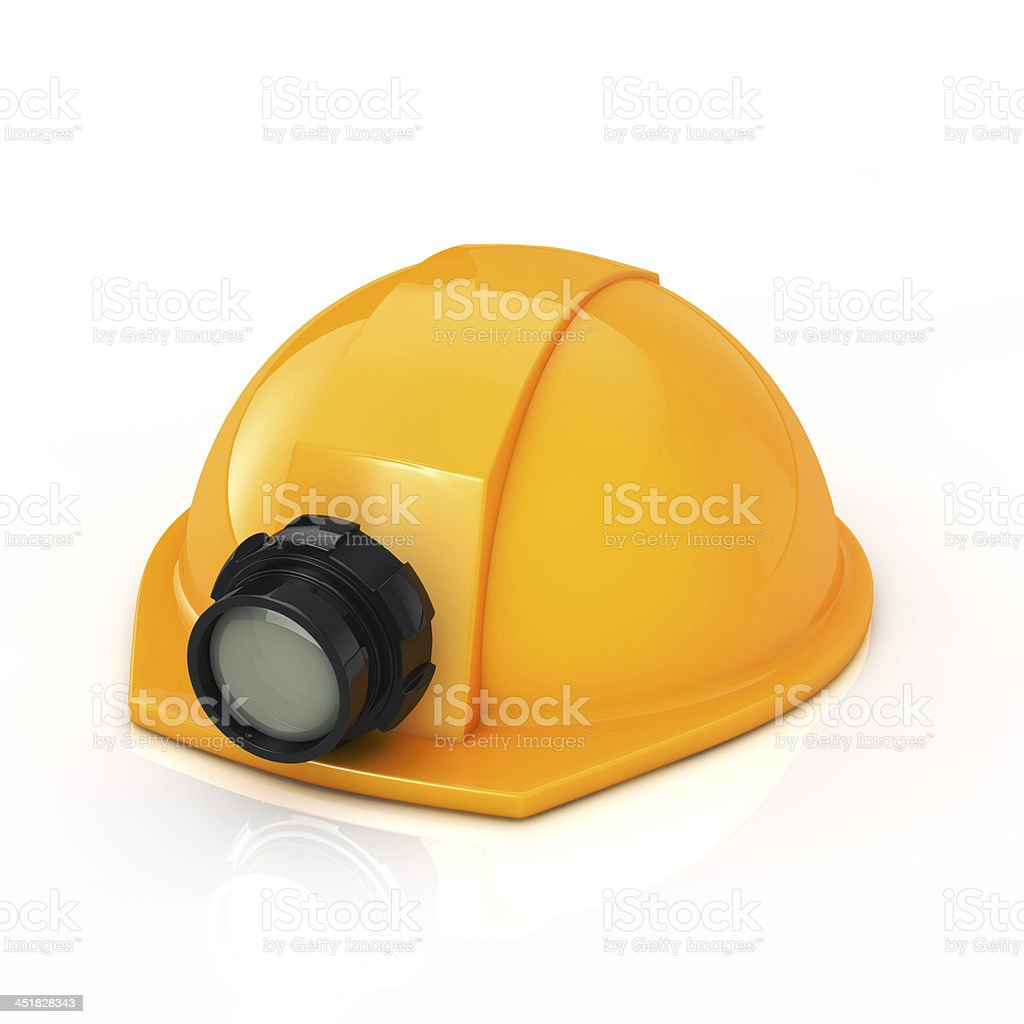 Protection helmet with lamp stock photo