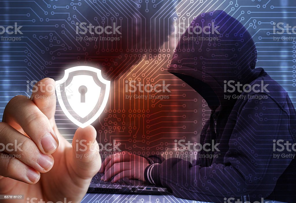 Protection of information from hackers. stock photo