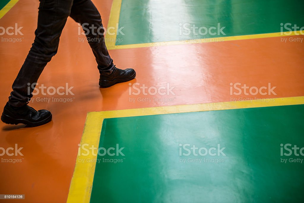 Protection path way in the factory stock photo