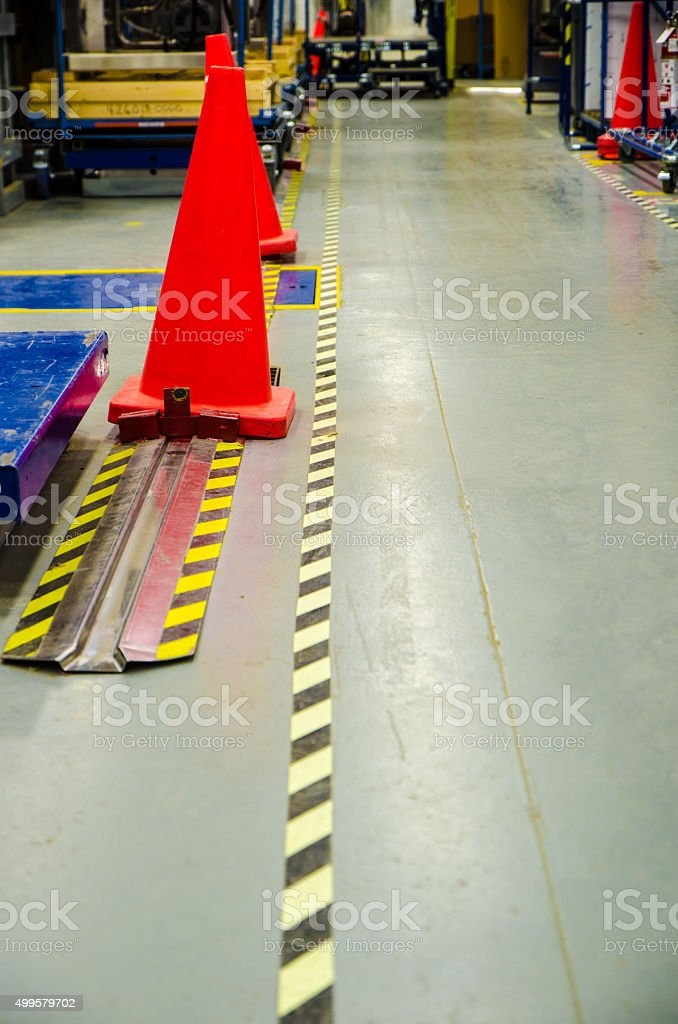 Protection pathway in a manufacturing plant stock photo