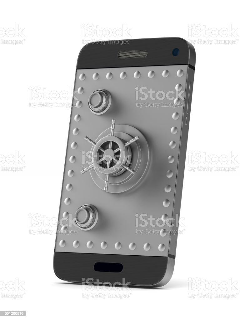Protection phone on white background. Isolated 3D image stock photo