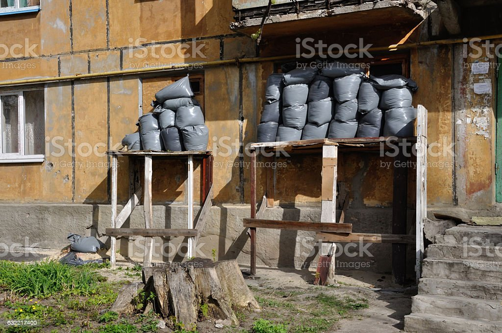 Protection residential house against shelling in Donetsk, Ukrain stock photo