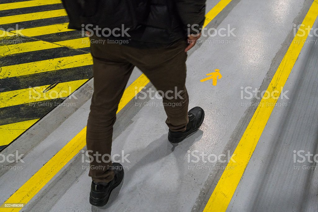 Protection walkway in the factory stock photo