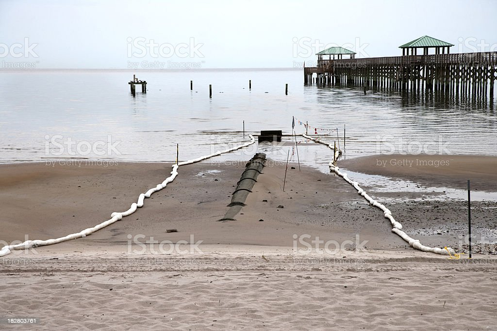Protective Boom Surrounds Drain on Mississippi Gulf Coast stock photo