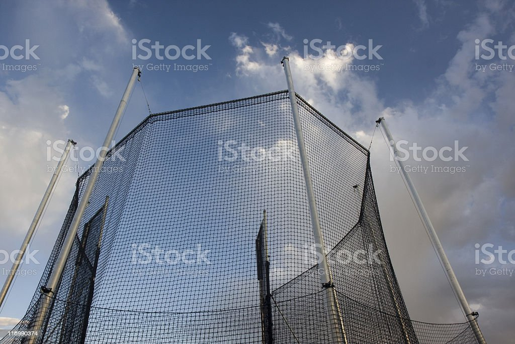 protective cage for a hammer throw competition stock photo
