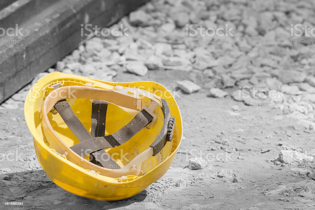 Protective construction helmet. stock photo