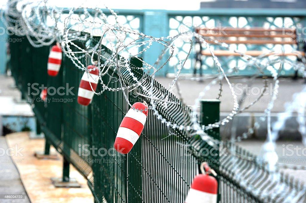 Protective fence stock photo