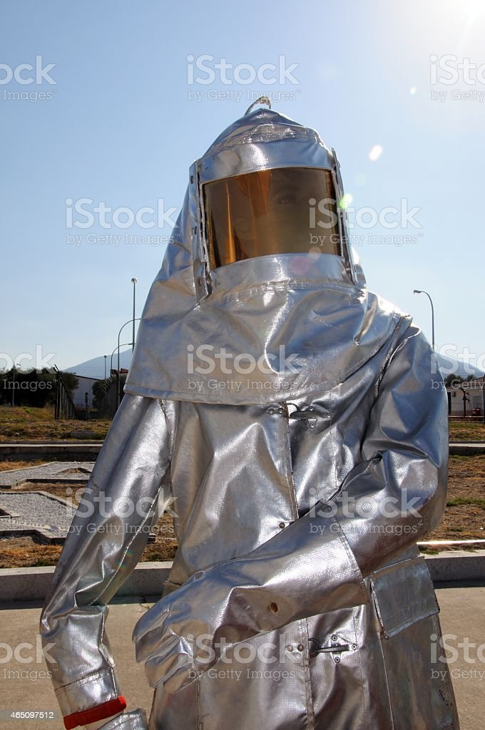 Protective fire suit. stock photo