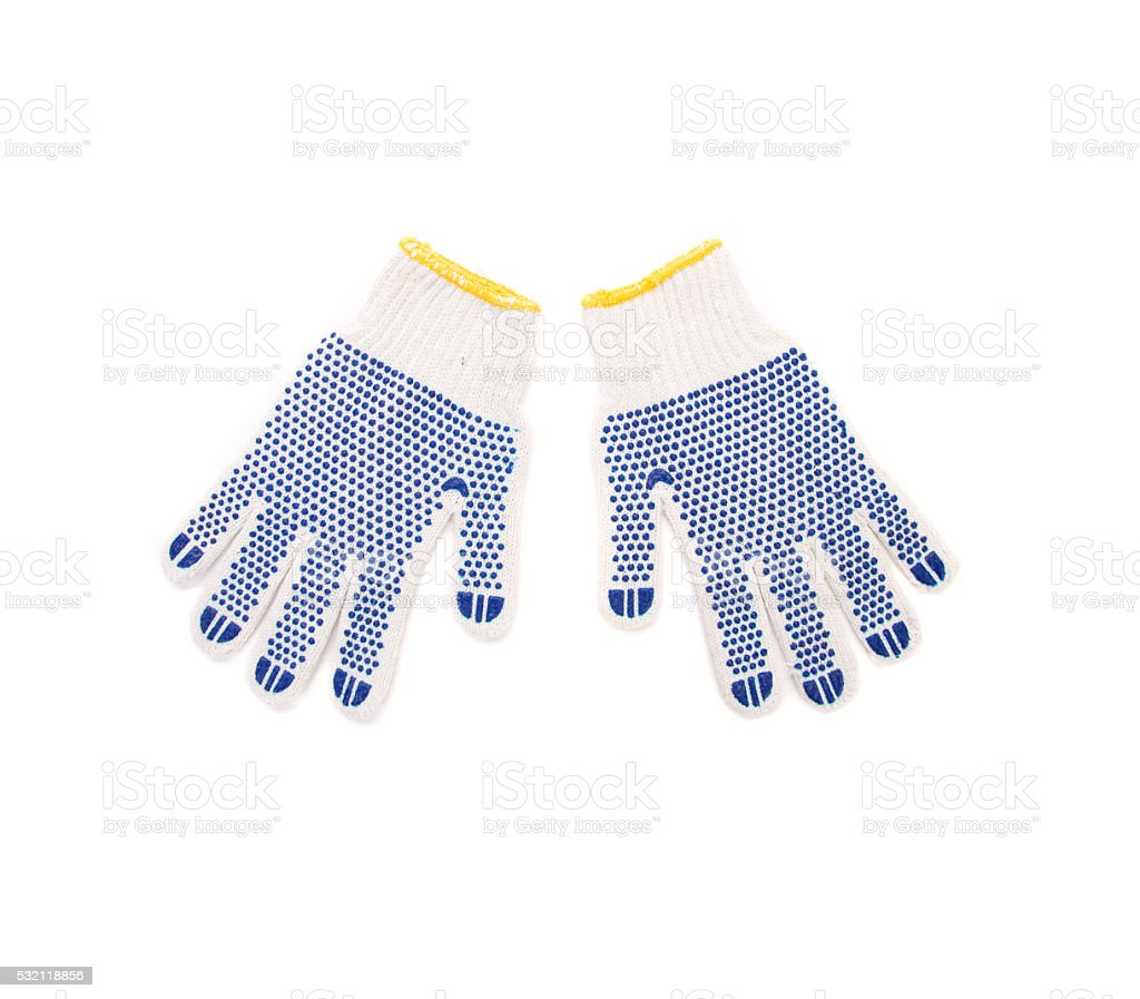Protective gloves with blue circles. stock photo