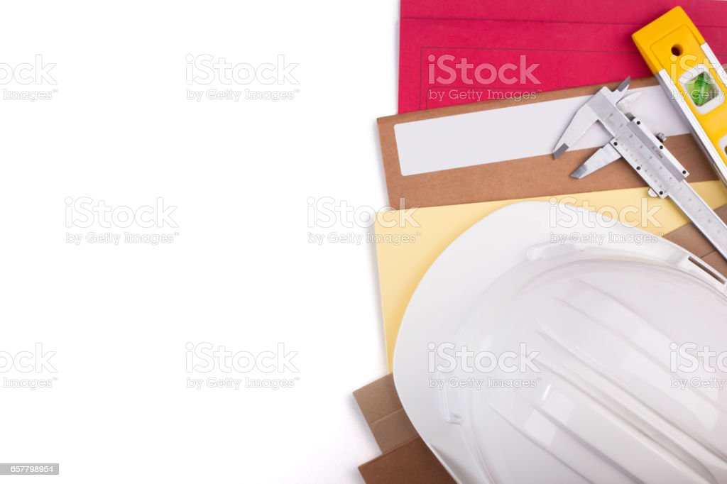 Protective helmet and measuring accessories. stock photo