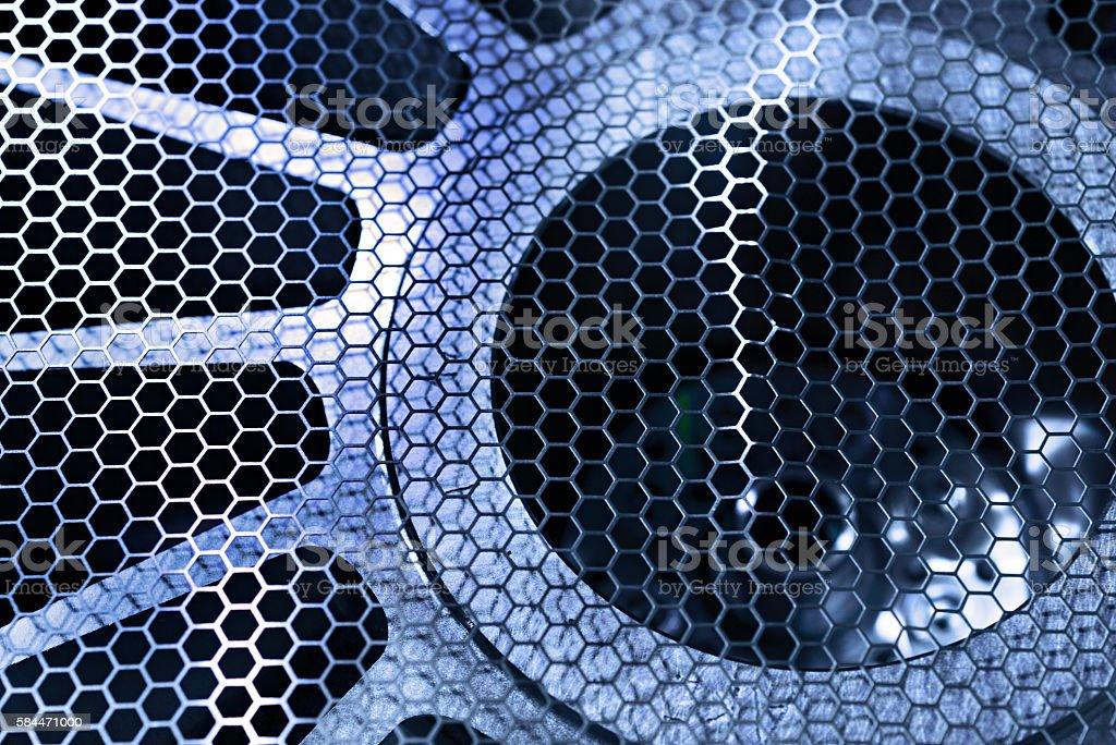 Protective metal mesh industrial fan. stock photo