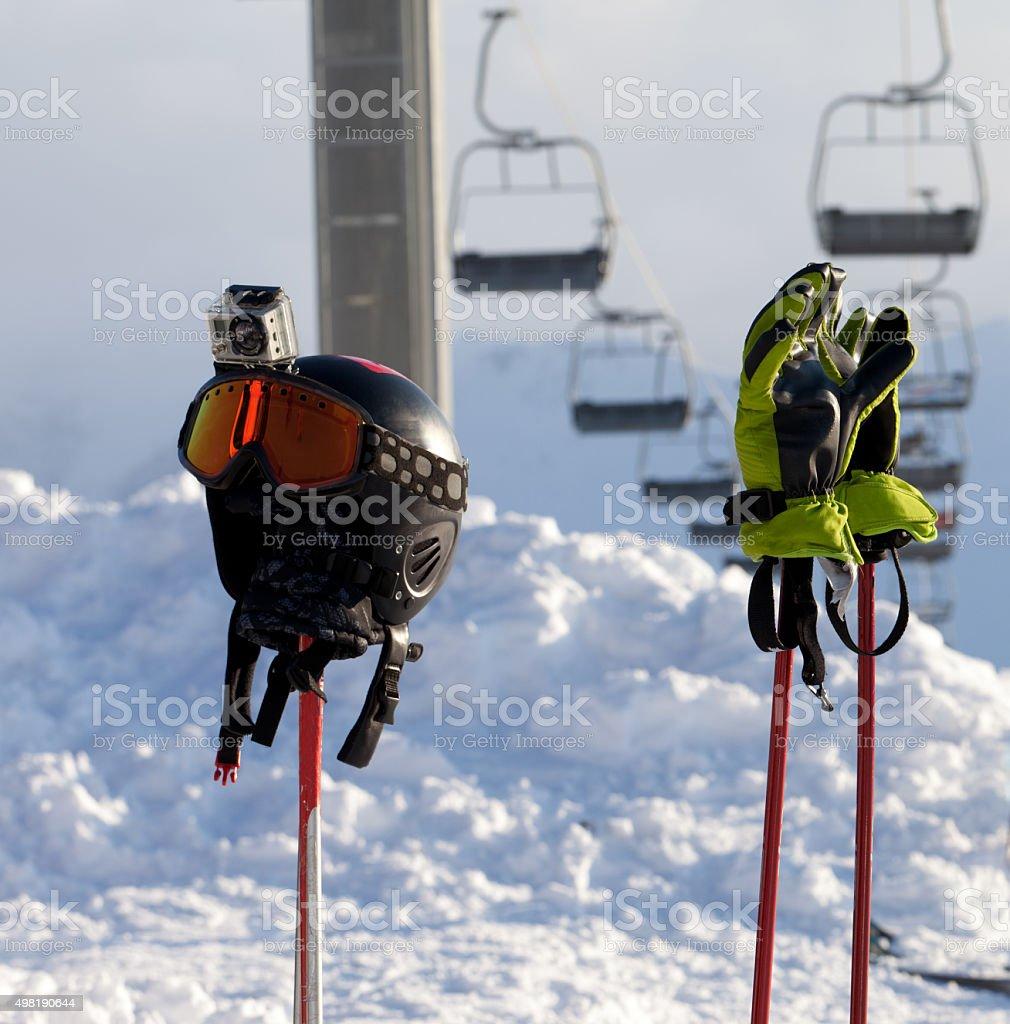 Protective sports equipment on ski poles at ski resort stock photo