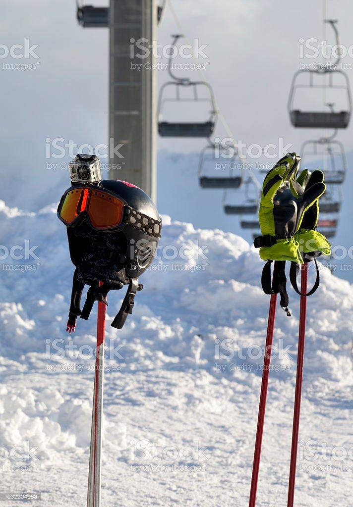 Protective sports equipment on ski poles stock photo