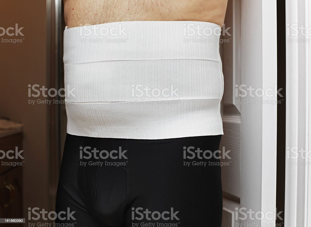 Protective Velcro Hernia Belt After Surgery royalty-free stock photo