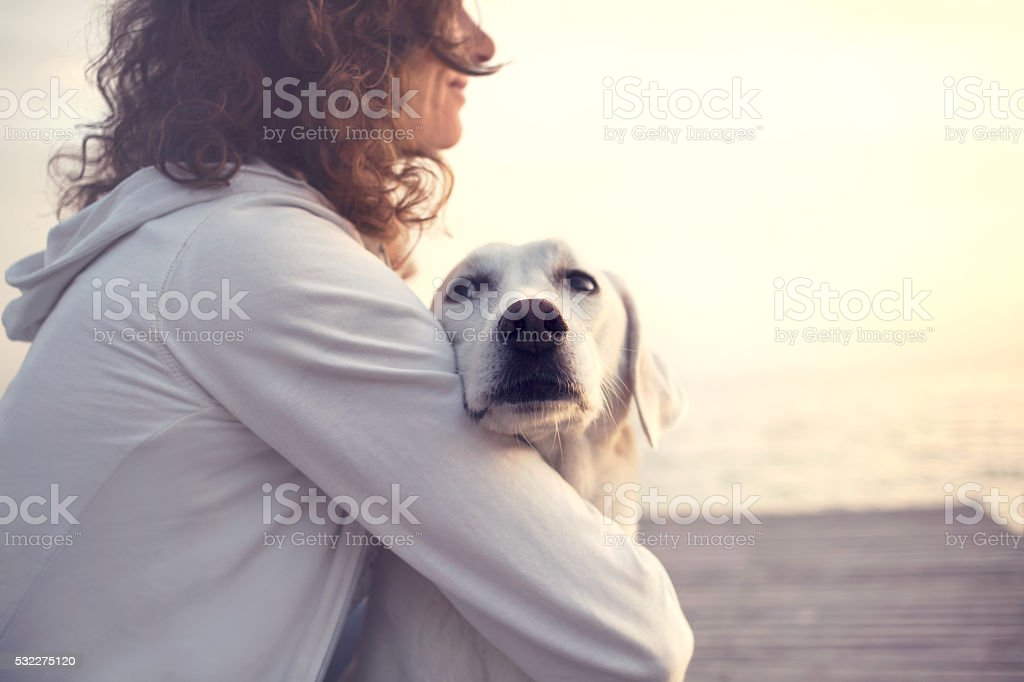 Protective woman embracing his dog while looking the view stock photo