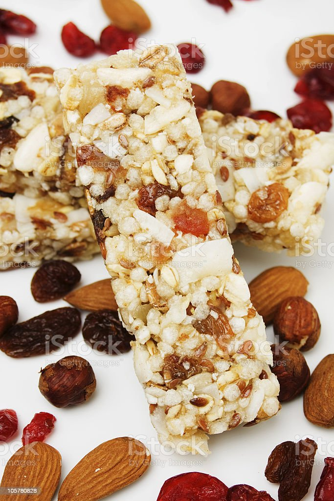 Protein bar with dried fruit stock photo