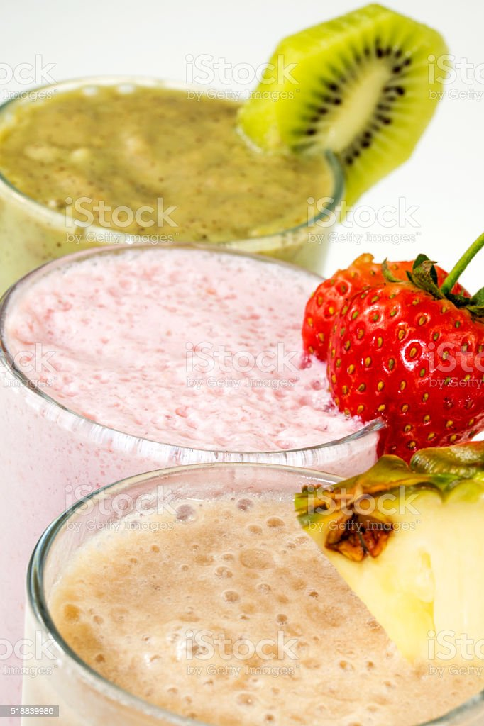 protein cocktails with fruits stock photo