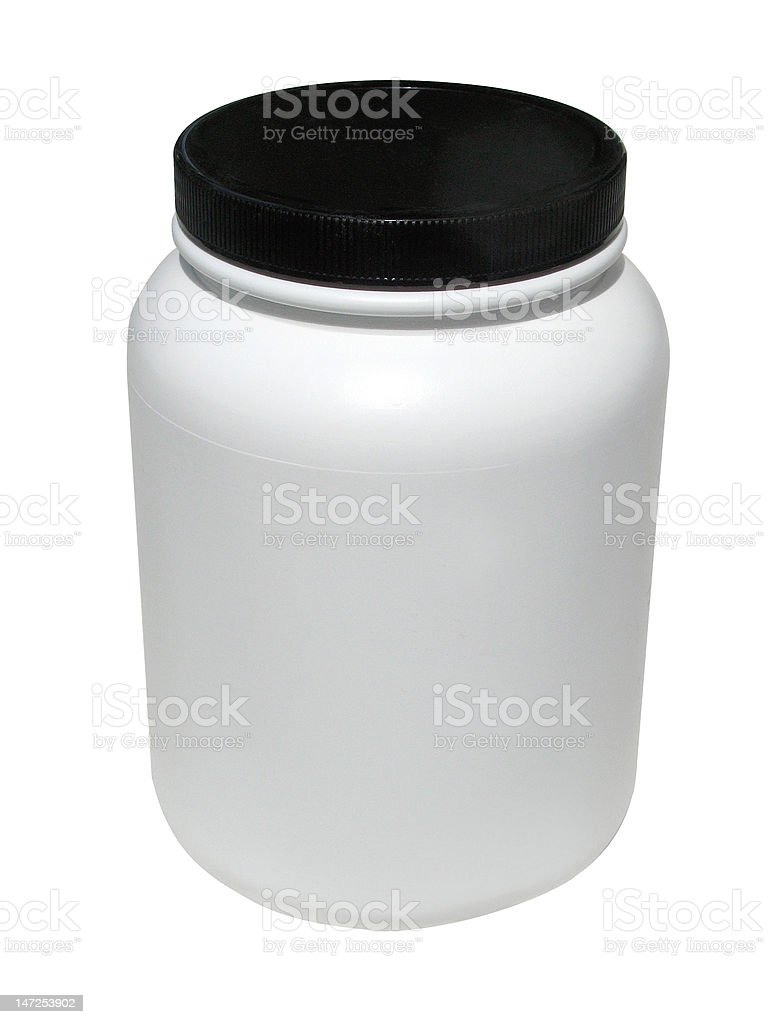 Protein container stock photo