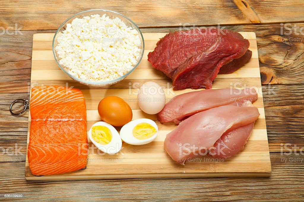 Protein diet, fish, cheese, eggs, meat and chicken stock photo