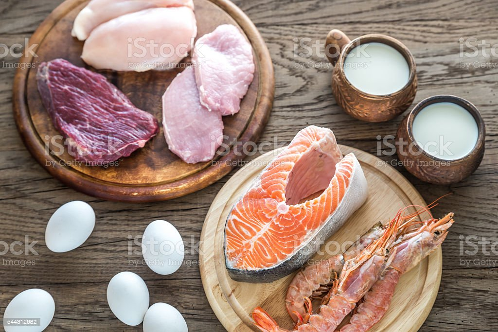 Protein diet: raw products on the wooden background stock photo