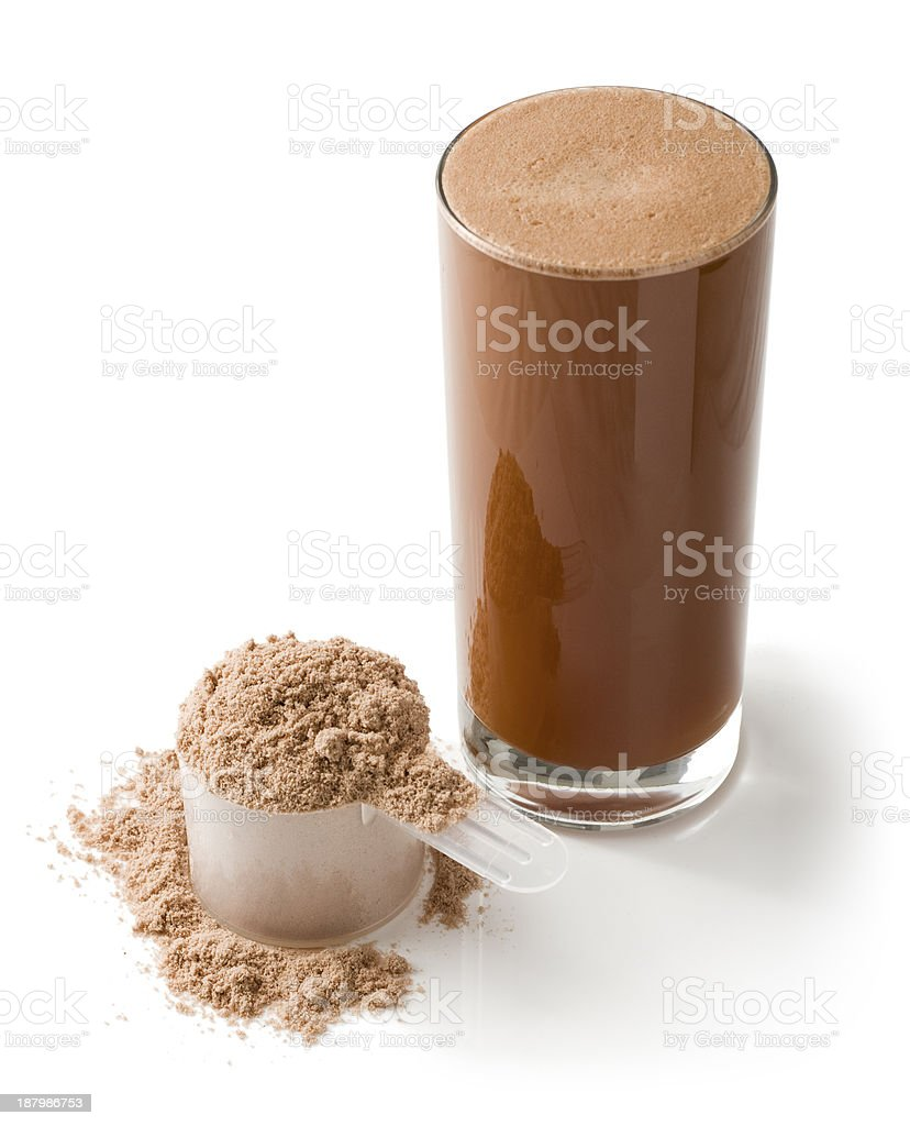 Protein drink and powder on a white background stock photo