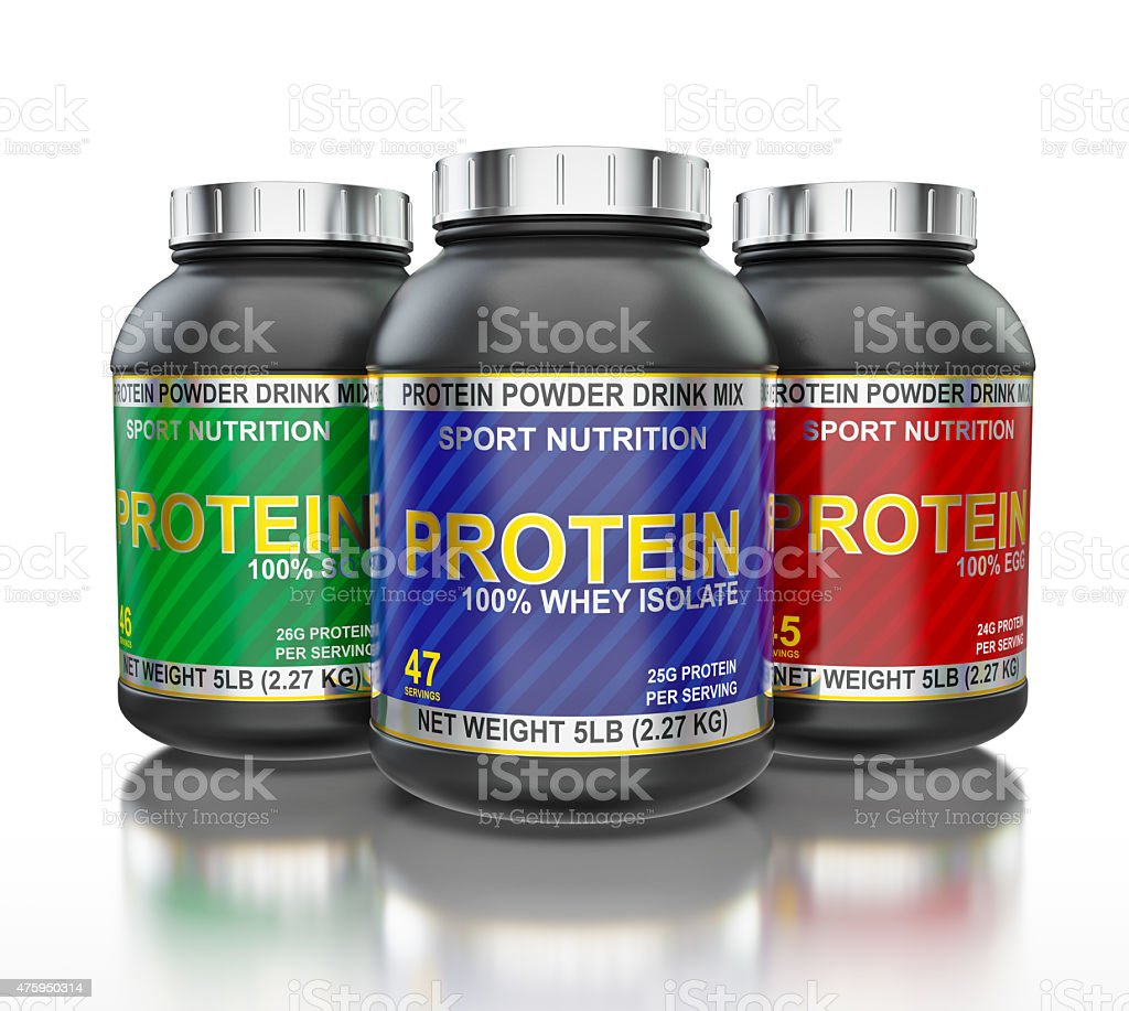 Protein jars isolated on white background with reflection stock photo