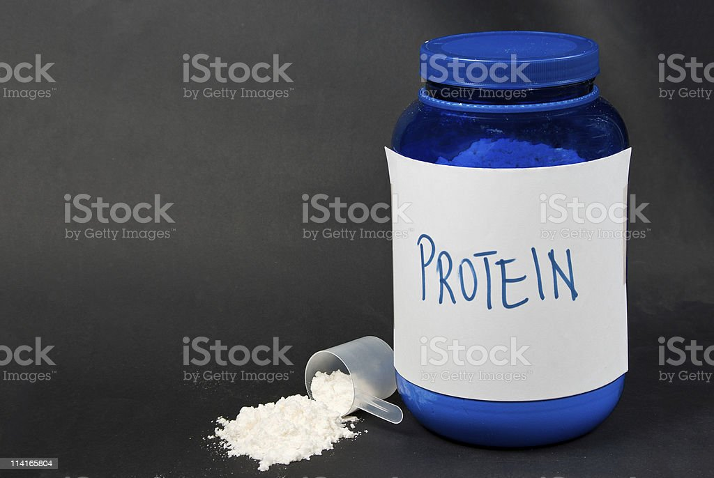 Protein powder and a scoop royalty-free stock photo