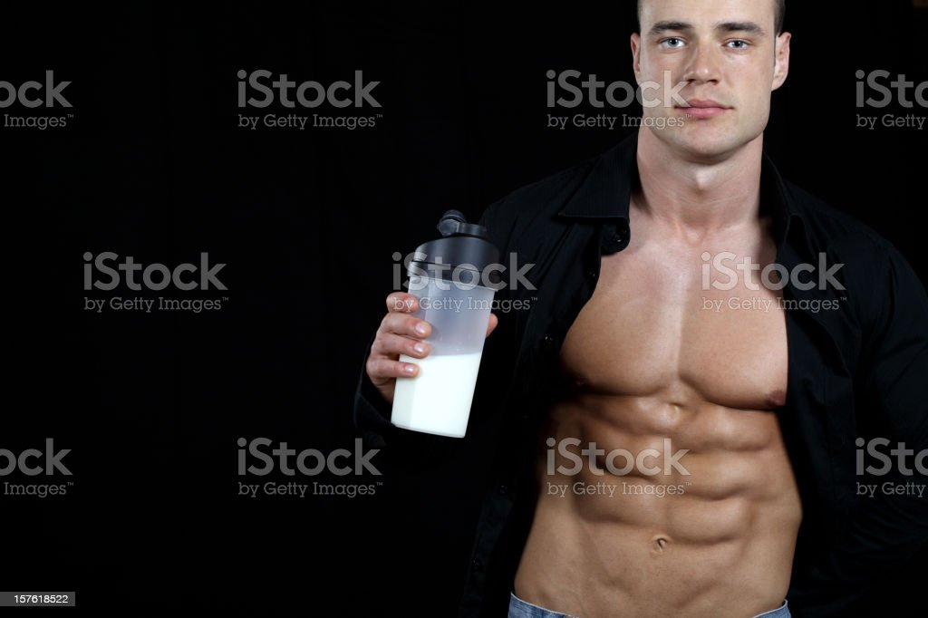 Protein shake time royalty-free stock photo