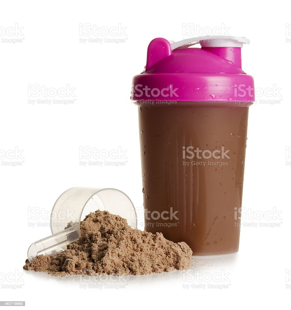 Protein shake with powder on a white background royalty-free stock photo