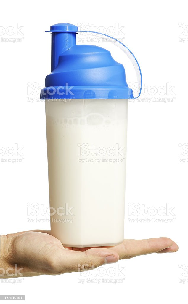 protein shaker on human  palm stock photo
