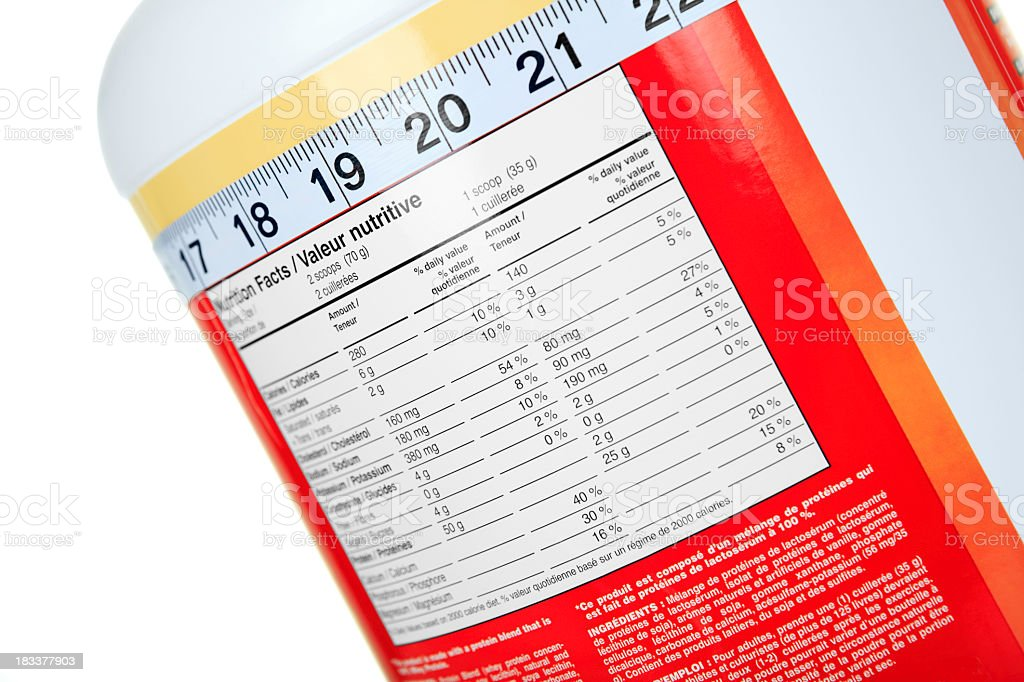 Protein Whey Nutrition Facts stock photo