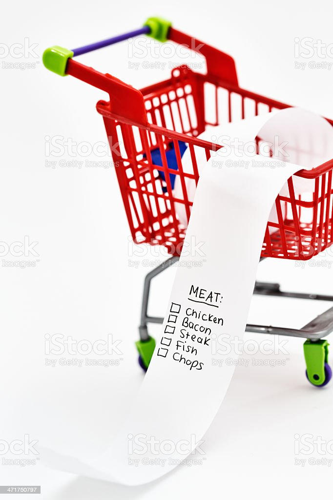 Protein-rich, low-carb diet with shopping list headed Meat royalty-free stock photo