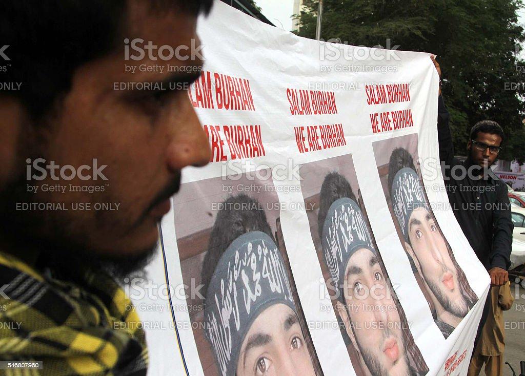 Protest against assassination of Kashmiri militant Burhan Muzzaffar Wani stock photo