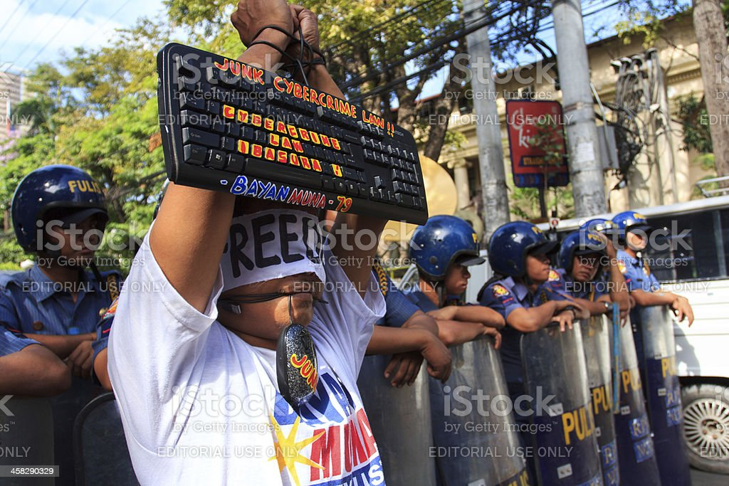 Protest against cyber crime bill royalty-free stock photo