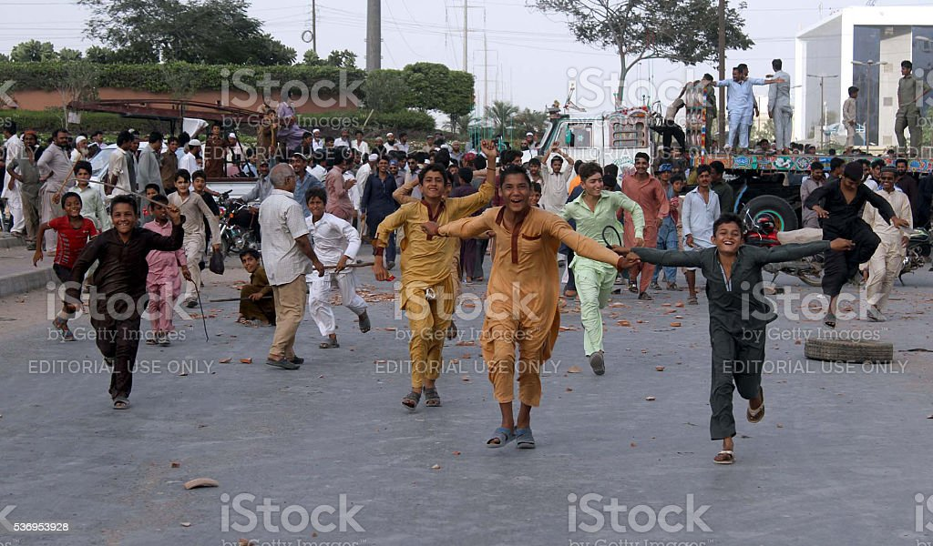 Protest against electric load shedding and shortage of drinking water stock photo