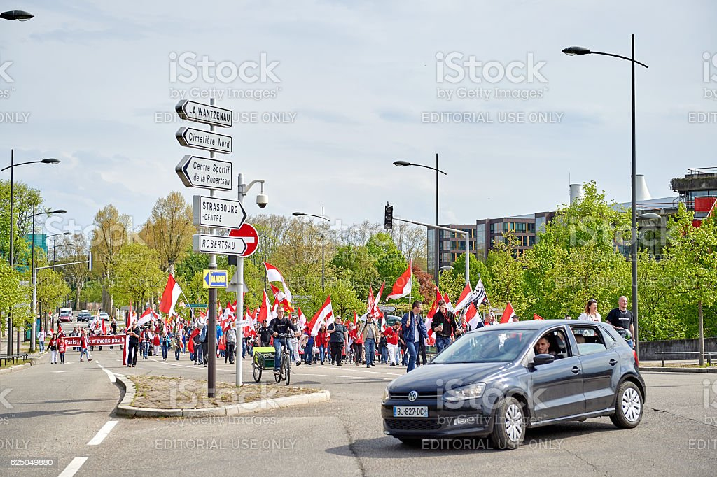 Protest against fusion of Alsace region with Lorraine and Champagne stock photo