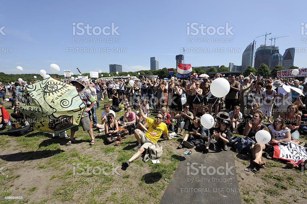 Protest against government cutbacks in the arts sector royalty-free stock photo
