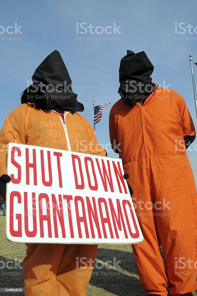 Protest against Guantanamo stock photo
