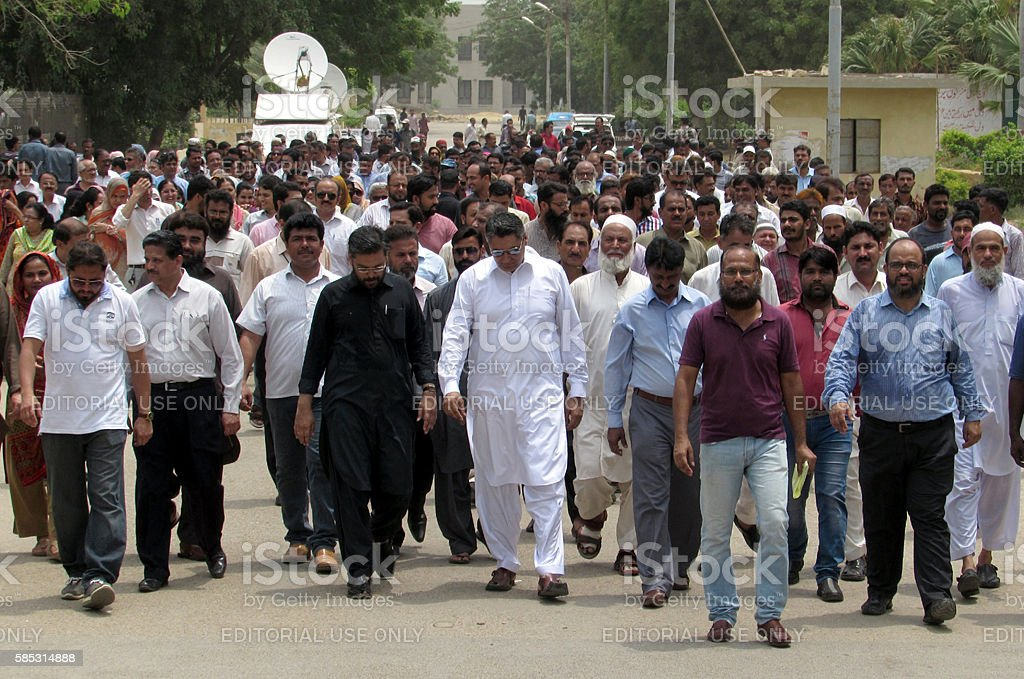 Protest against increment in fees and nonpayment of salaries stock photo
