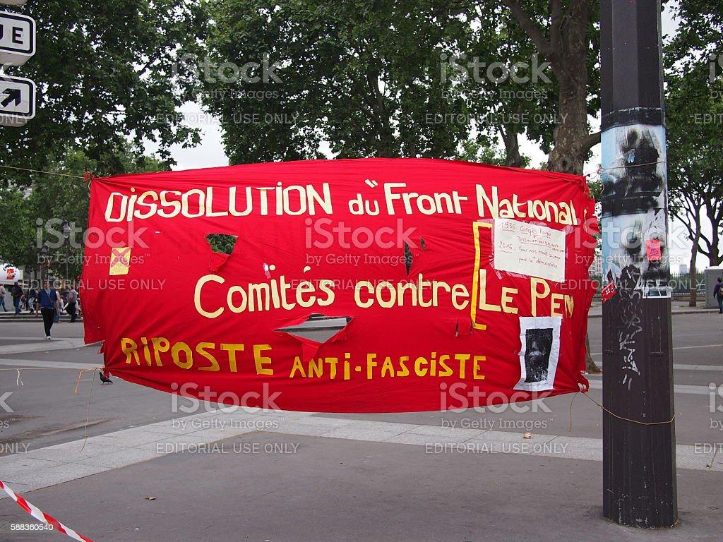 Protest against Le Pen stock photo