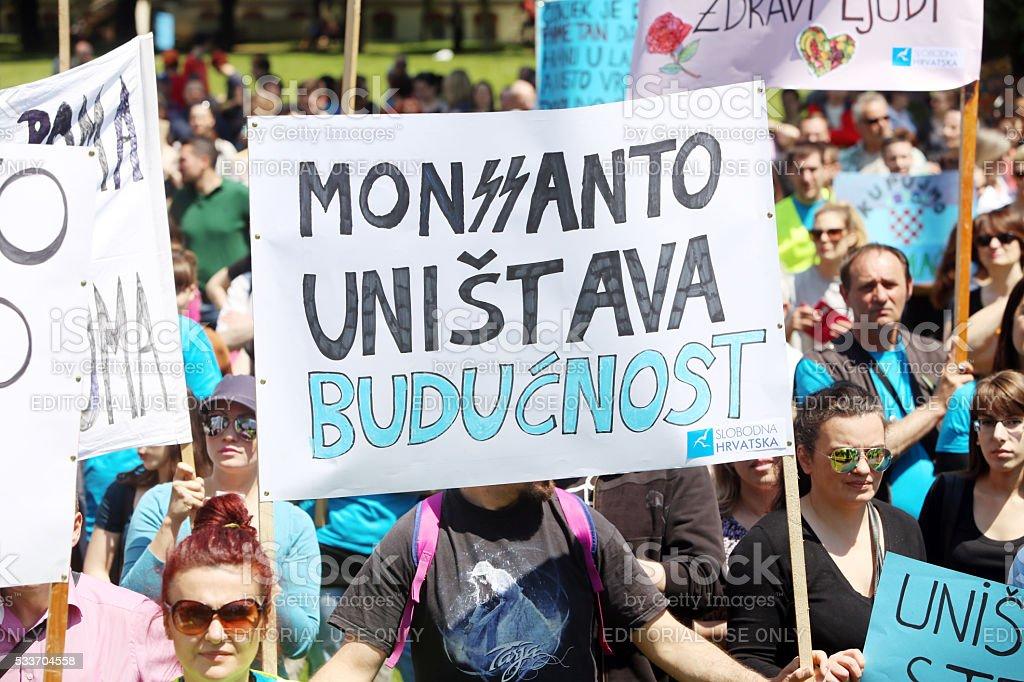 Protest against Monsanto, Zagreb, Croatia stock photo